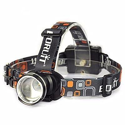 Happytop lampe frontale, 2500lm XM-L T6LED Phare Zoomable lampe de poche lampe frontale lumière pile AA, noir