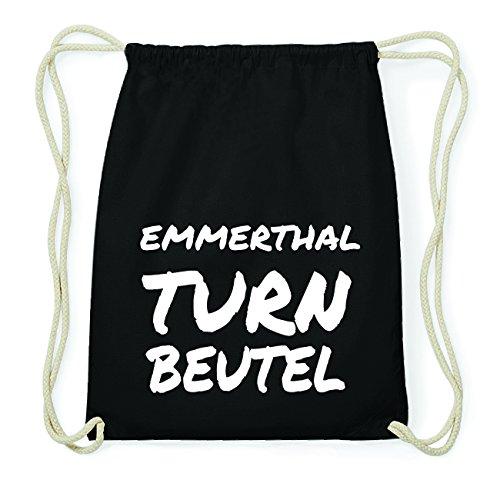 JOllify EMMERTHAL Hipster Turnbeutel Tasche Rucksack aus Baumwolle - Farbe: schwarz Design: Turnbeutel