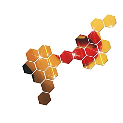 Clearance Wallpaper Leewos 3d Mirror Wall Mural Hexagon Vinyl Removable Wall Stickers Decal Home Decor 12pcs Gold