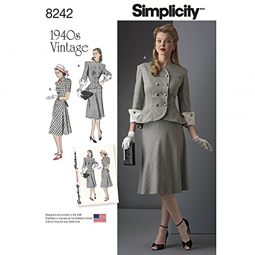 Simplicity Ladies Sewing Pattern 8242 1940s Vintage Style Jacket & Shirt Two Piece Dress