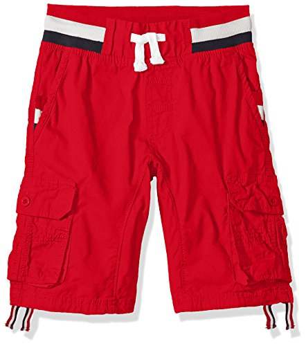 Southpole Boys' Big Twill Cargo Jogger Shorts in Basic Solid Colors, red Stripe, Large (Short Stripe Waist)