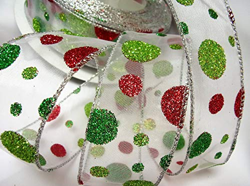 Wire Edged Polyester White Sheer with Red and Green Glitter Dot Print - 100% Polyester 10 Yards, 1-1/2