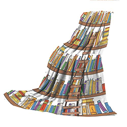 SCOCICI Blanket for Bed Couch Chair Fall Winter Spring Living Room,Modern,Library Bookshelf with A Ladder School Education Campus Life Caricature Illustration,Multicolor,59.06