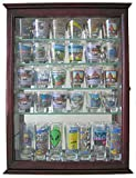 36 Shot Glass Display Case Wall Cabinet Holder Rack - Cherry...