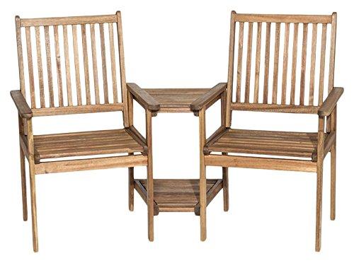 Siena Garden 175637 2er Bank Lucia Akazienholz FSC® 100% mit Tisch Beschläge aus galvanisiertem Stahl