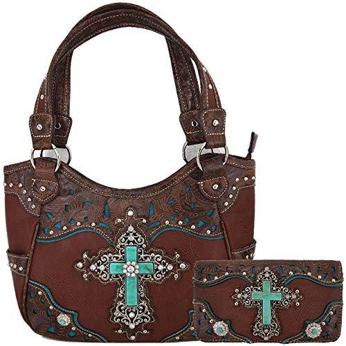 Western Rhinestone Cross Tooled Leather Totes Concealed Carry Purse Handbag Women Shoulder Bag Wallet Set (Brown Set)