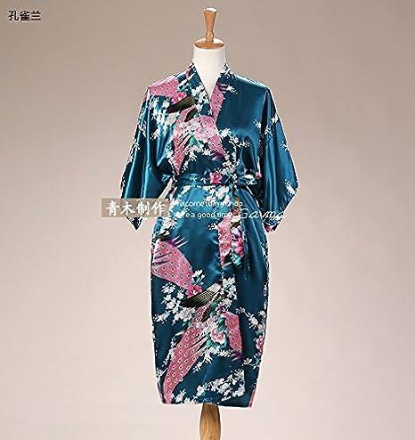 Wanglele Sakura Kimono Silk Gown Bathrobe Nightgown Peacock Flower ... a83060c45