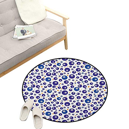 Flannel Daisies - Floral Round Rug ,Blue and Orange Polka Dots with Little Spring Flowers Chamomiles and Daisies, Flannel Microfiber Non-Slip Soft Absorbent 39
