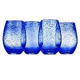 Artland Iris Stemless Glasses, Cobalt, Set of 4