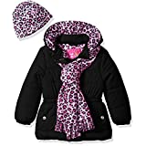 Pink Platinum Girls' Toddler Quilted Puffer with Hat and Scarf, Black, 2T