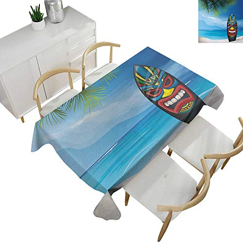 Tiki Bar,Table Covers Tiki Warrior Mask Design Surfboard on Ocean Beach Abstract Landscape Surf Print Table Cover for Rectangular Table Multicolor 52