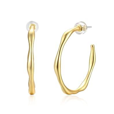 5813c733d Amazon.com: Fashion Gold Hoop Earrings for Women, 925 Sterling Silver Ear  Post 14K Gold Plated Hoop Dangle Stud Earrings, Dainty Infinite Love Hoop  Earrings ...