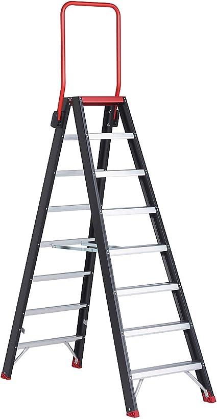 Escalera de seguridad, ambos lados, 2 x 8 peldaños – Seguridad pie escalera Estantería Escalera de aluminio