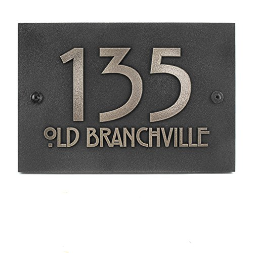 Atlas Signs and Plaques Modern Stickley Address Plaque No Border 12.5x8.75 - Raised Stainless Steel Metal ()