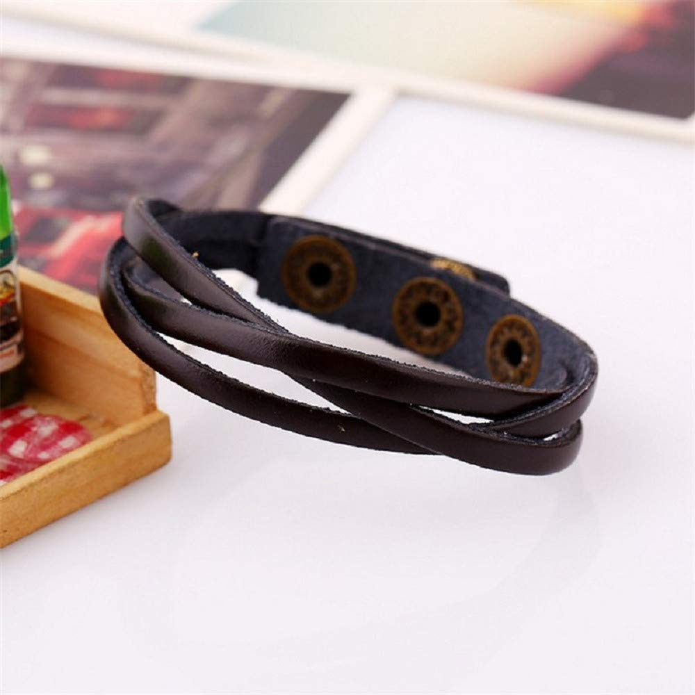 Boy New Bangle Leather Braided Wristband Cuff Punk Bracelet for Men Kids,Women By Yanwuuh