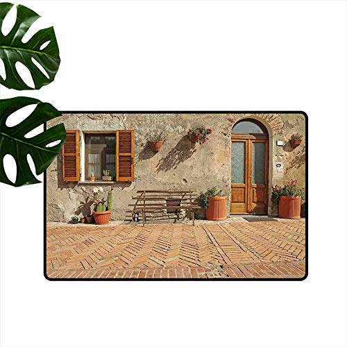 PEONIY&HOME Tuscan,Doormat Medieval Facade Rustic Wooden Door Ancient Brick Wall in Small Village Personalized Door mat W 31
