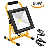 Echoming 50W LED Work Light,4500LM Portable Rechargeable 84 LED Flood Light IP65 Waterproof 360 Degree Adjustable Stand Working Light for Workshop,Construction Site, 400W Halogen Bulb Equivalent