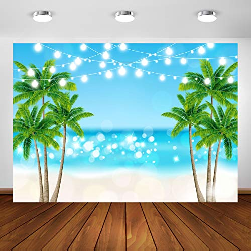 Tropical Photography Backdrop 7x5ft Summer Hawaii Seaside Beach Palm Trees Glitter Photo Background Blue Sea Sky Luau Themed Party Decorations Vinyl Photo Banner