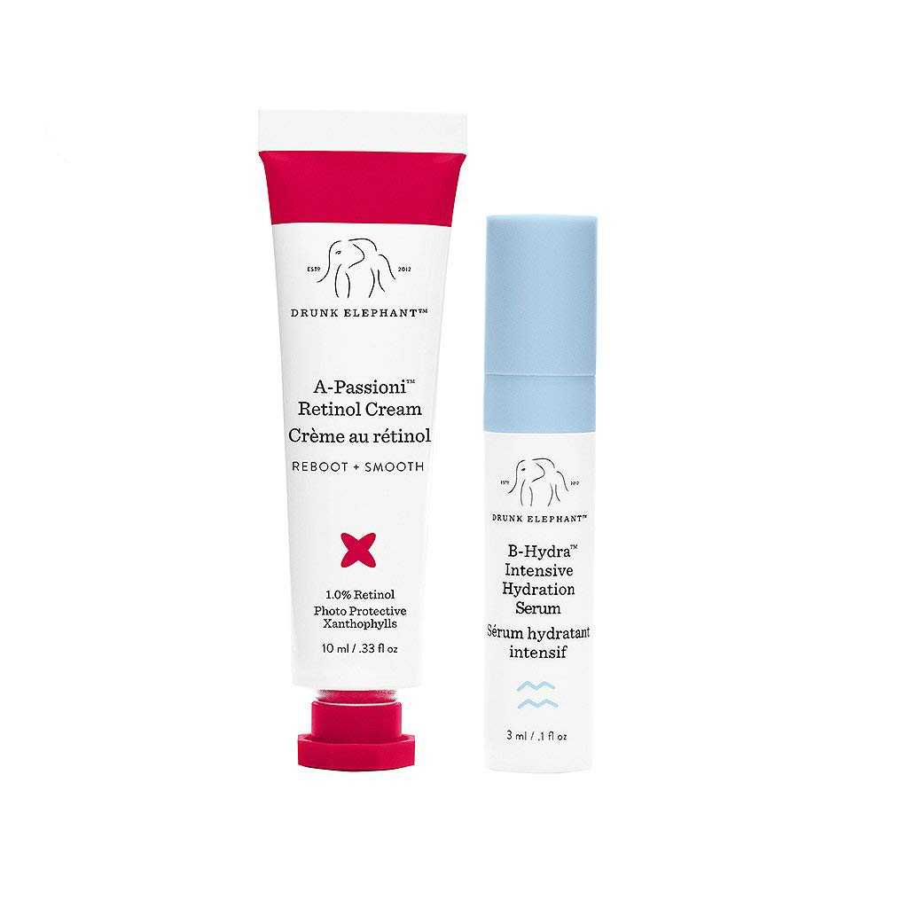 Drunk Elephant A-Passioni Midi. Travel-Size Vegan Retinol Anti-Wrinkle Face Cream to Brighten, Restore and Moisturize Skin with Vitamin F (10 ml) and B-Hydra Intensive Hydration Serum (3 ml)