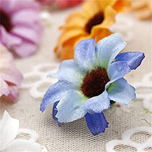 Silk Artificial Flowers Fake Flower Heads in Bulk Wholesale for Crafts Shiny Daisy Head Wedding Home Decoration Party Decor DIY Scrapbooking Chrysanthemum Accessories 50pcs 3