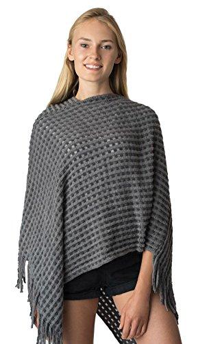 (LL Cable Knit Poncho Bohemenian Pull On Sweater Dark Gray Woven Waffle Knit)