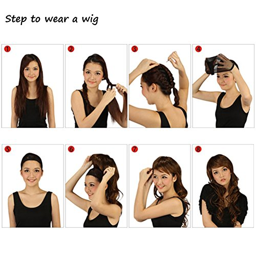 RightOn 14 Short Curly Women Girls Charming Synthetic Wig With Air Bangs Wig Cap Included