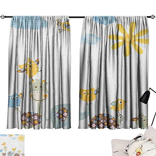 Michaeal Nursery Decoration Darkening Curtains Jolly Jungle Creatures Happily Walking in a Sunny Day Cute Animals Curtain for Bedroom Yellow Pale Blue Pale Green W63 x L45
