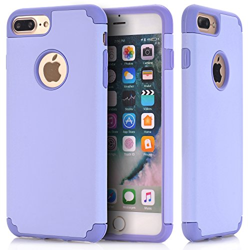 iPhone 7 Plus Cases, NOKEA 2in1 Hybrid Case for iPhone 7 Plus. Hard Cover for Iphone 7 Plus Printed Design Pc+ Silicone Hybrid High Impact Defender Case Combo Hard Soft (Purple Purple)