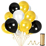 Treasures Gifted Metallic Pearl Black White and Gold Latex Balloons 12 Inch for Baby Shower Masquerade Retirement Centerpieces Halloween New Year Prom Dance Party Decorations
