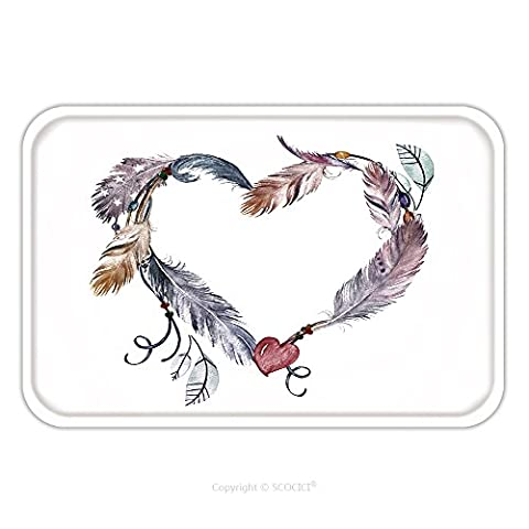 Flannel Microfiber Non-slip Rubber Backing Soft Absorbent Doormat Mat Rug Carpet Watercolor Feathers Frame Hand Drawn Boho Print For Wedding Card Invitation Poster Wrapping 571001164 for - Echelon Echelon Shower Locker