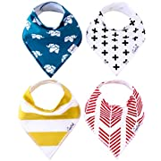 """Baby Bandana Drool Bibs for Drooling and Teething 4 Pack Gift Set For Boys and Girls """"Indie Set"""" by Copper Pearl"""