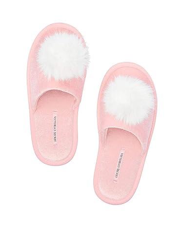 c38cbecde Image Unavailable. Image not available for. Color: Victoria Secret Pom pom  Slipper Pink Size Large ...