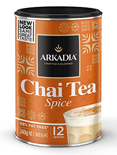 ARKADIA Beverages Chai Green Tea Matcha Powder 98% Fat Free | Black Tea Base & Secret Exotic Ingredients | For Hot, Iced & Latte Drinks | Experience Café Indulgence At Home