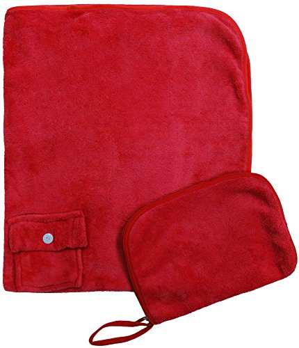 Simplicity Travel Sleep Nap Pillow Blanket Set for Air Car Train Trip, Red (Seahawks Blanket King)
