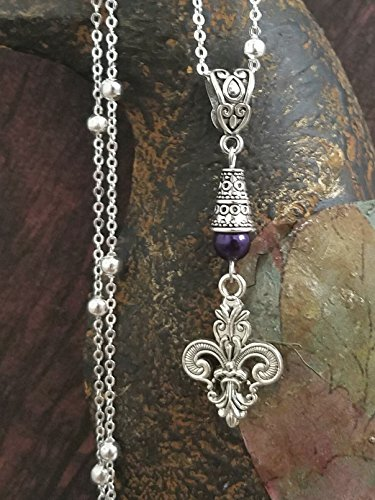 Fleur de Lis Necklace on Sterling Silver Chain Purple Accent ()
