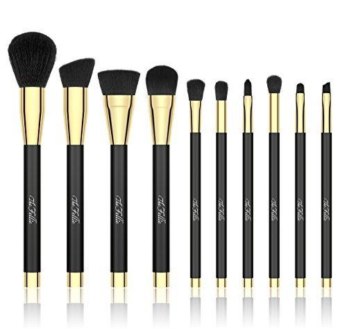 TheFellie Makeup Brush Set, Professional Foundation Blending Blush Concealer Eye Face Liquid Powder Cream Cosmetics Brushes, Black Gold - 10 Pieces