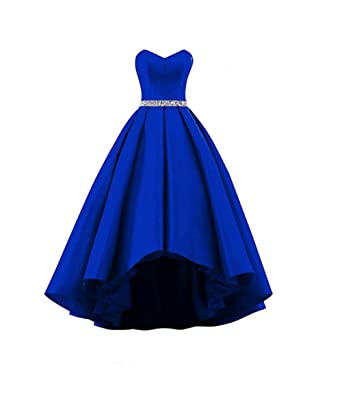 Chupeng Womens Sweetheart RoyalBlue Beaded Belt High Low Prom Dress Formal Party Dress Bridesmaid Dress Ball