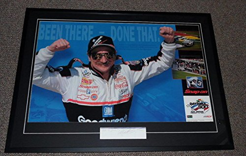 Dale Earnhardt Sr Signed Framed 29x39 Daytona Poster Display JSA Fade to Black ()