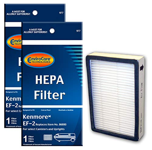 EnviroCare Replacement Vacuum HEPA Filters for Kenmore Progressive EF-2 Machines 2 Filters - Air Flow Vacuum Cleaners