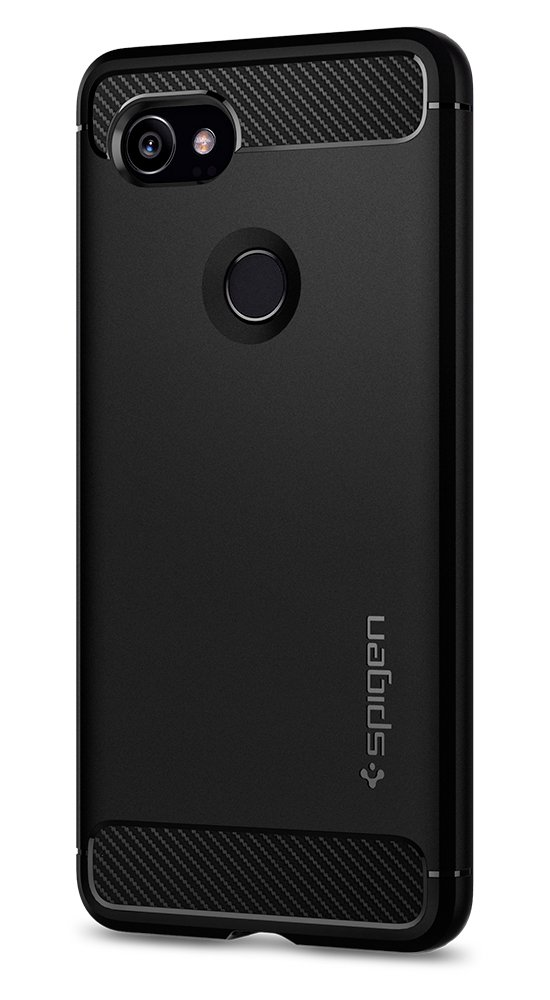 Spigen Rugged Armor Google Pixel 2 XL Case with Resilient Shock Absorption and Carbon Fiber Design for Google Pixel 2 XL (2017) - Black by Spigen (Image #2)