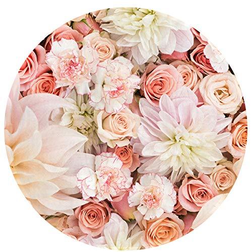 Comfort Flannel Round Carpet Petal Roses Blush Pink Round Rug Living Room Bedroom Floor Mat Bedside Rug Non-Slip Round Floor Mat Study Chair Pad Area Rug 24Inch