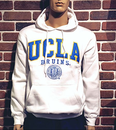 E5 UCLA Fleece Hoodie Sweatshirt White with Royal Blue for sale  Delivered anywhere in USA