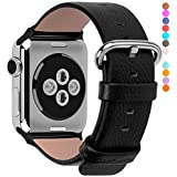 Apple Watch Bands 38mm, Fullmosa Yan Series Lichi Calf Leather Strap Replacement Band with Stainless Metal Clasp for iWatch Series 0 1 2 and Version 2015 2016, Black