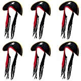 6-pack Pirate Hat with Dreadlocks Halloween Costume Accessory - Dress Up Theme Party Roleplay & Cosplay Headwear