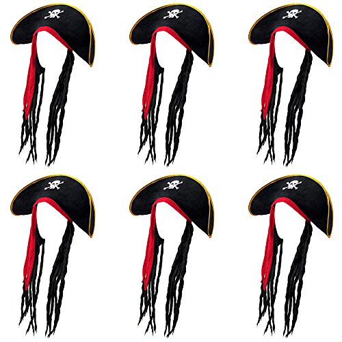 6-Pack Pirate Hat With Dreadlocks Halloween Costume Accessory - Dress Up Theme Party Roleplay & Cosplay -