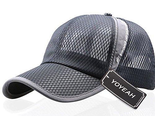 YOYEAH Men and Women Snapback Baseball Cap Sun Hat Outdoor Sports Mesh Hat Gray (Revgear Long Sleeve)