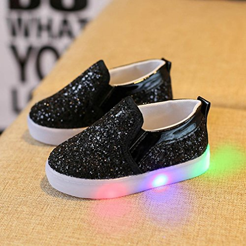 WensLTD Baby Fashion Sneakers LED Luminous Child Toddler Casual Colorful Light Shoes (Black, (Roman Six Light)
