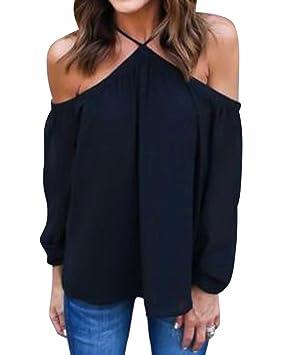 Mujeres Camiseta De Moda Blusas De Gasa Sin Tirantes Irregulares Sin Tirantes Negro S