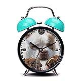 Blue Alarm Clock, Retro Portable Twin Bell Beside Alarm Clocks with Nightlight-028.American Bully