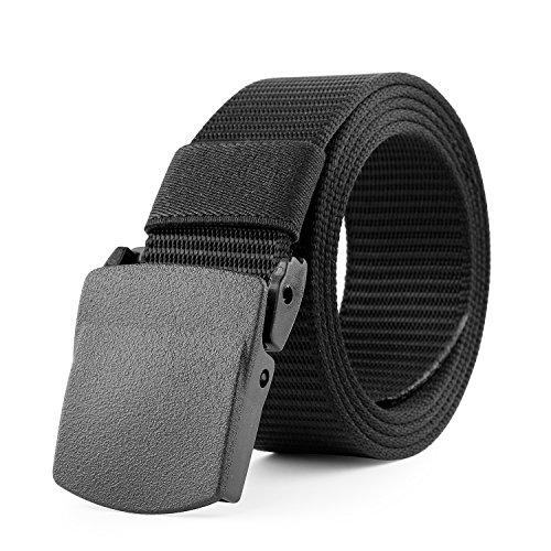 JasGood Mens Nylon 1.5in Width Adjustable Belt With Military Plastic Buckles,Black,120CM(47.2